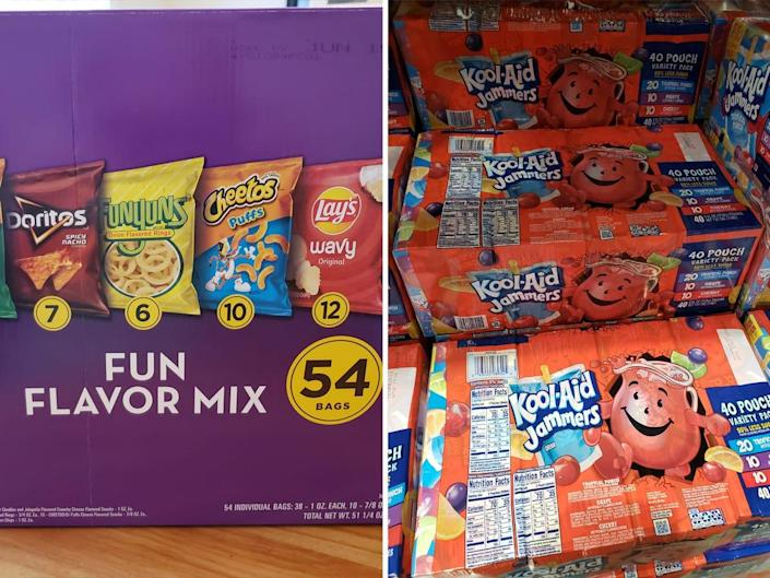 (left) costco pack of frito lays chip packs (right) costco packs of koolaid jammers juice pouches