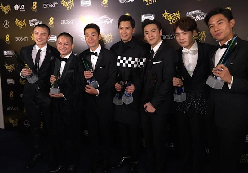 Top 10 Most Popular Male Artistes at Star Awards 2017. L-R: Shane Pow, Dennis Chew, Ben Yeo, Romeo Tan, Ian Fang, Desmond Ng, Desmond Tan. (Photo: Channel 8's Facebook page)