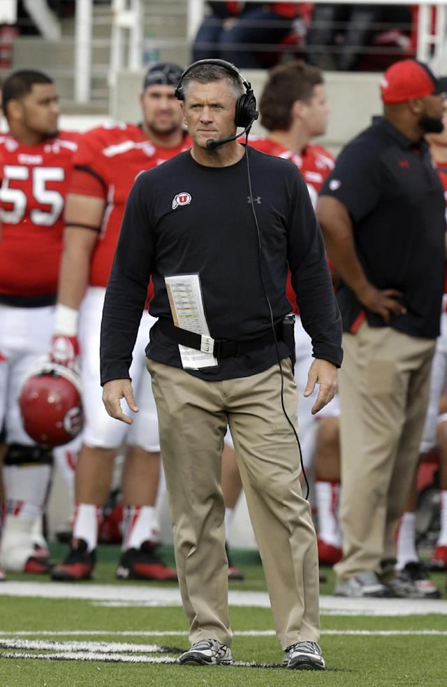 Utah head coach Kyle Whittingham looks on in the second quarter of an NCAA college football game against Stanford on Saturday, Oct. 12, 2013, in Salt Lake City. (AP Photo/Rick Bowmer)