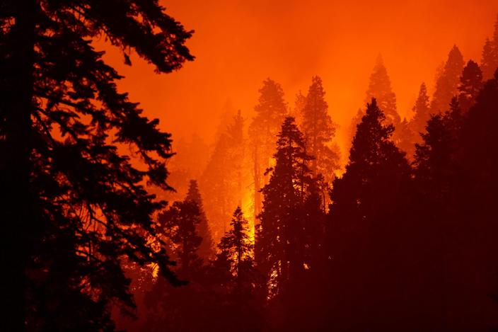 Fires on Sept. 14, 2020, near Camp Nelson, California.