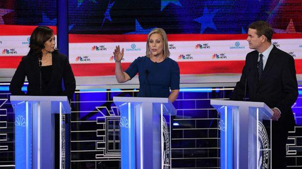 PHOTO: Kamala Harris, Kristen Gillibrand and Michael Bennet participate in the second night of the first 2020 democratic presidential debate at the Adrienne Arsht Center for the Performing Arts in Miami, June 27, 2019. (Saul Loeb/AFP/Getty Images)