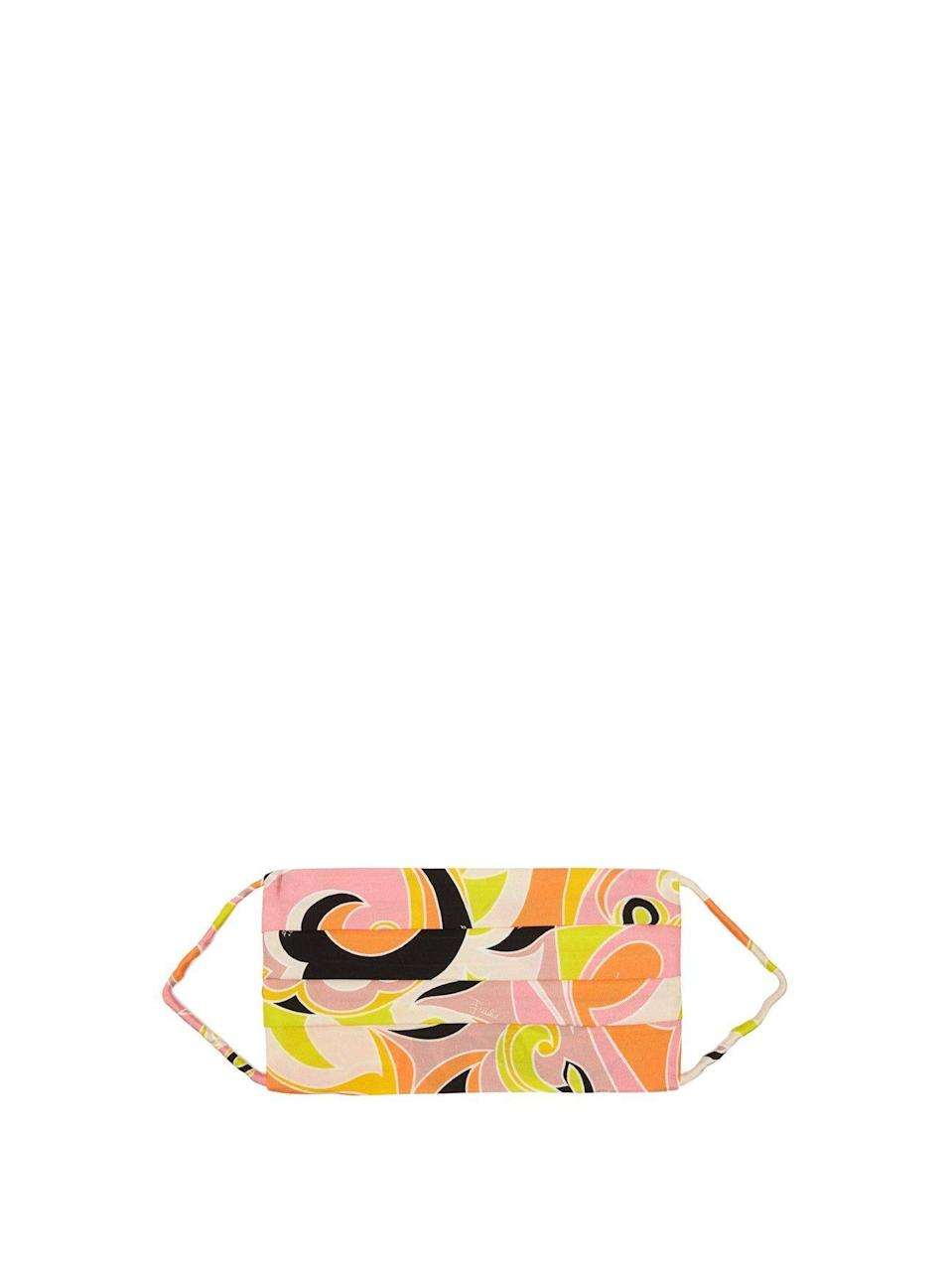 """<p><strong>Emilio Pucci </strong></p><p>matchesfashion.com</p><p><strong>$120.00</strong></p><p><a href=""""https://go.redirectingat.com?id=74968X1596630&url=https%3A%2F%2Fwww.matchesfashion.com%2Fus%2Fproducts%2FEmilio-Pucci-Dinamica-print-silk-face-covering-1397816&sref=https%3A%2F%2Fwww.harpersbazaar.com%2Ffashion%2Ftrends%2Fg32192171%2Ffashion-brands-masks-coronavirus%2F"""" rel=""""nofollow noopener"""" target=""""_blank"""" data-ylk=""""slk:Shop Now"""" class=""""link rapid-noclick-resp"""">Shop Now</a></p><p>This showstopping face mask will pair nicely with your sun hat for a walk around the beach or through the park.</p>"""