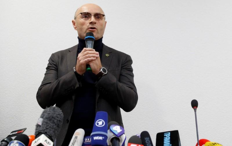 Ukraine International Airlines President Yevhenii Dykhne speaks at a news briefing about the crash of the Boeing 737-800 plane at the Boryspil International Airport