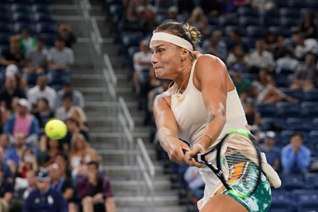 Eyeing an upset: Aryna Sabalenka defeats fifth-seeded Czech Petra Kvitova to reach US Open fourth round on Saturday. (AFP Photo/Don Emmert)