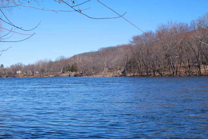 The shoreline in the borough of Riegelsville in Bucks County, Pa., is where the pipeline would cross over the Delaware River to New Jersey. (Photo courtesy of Mike Spille)