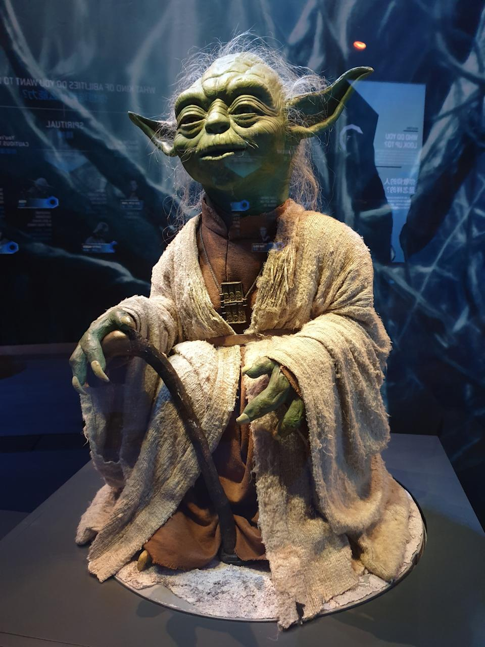 Prop of Yoda made for Star Wars: The Phantom Menace at  the Star Wars Identities exhibition in Singapore at the Artscience Museum. (Photo: Teng Yong Ping)