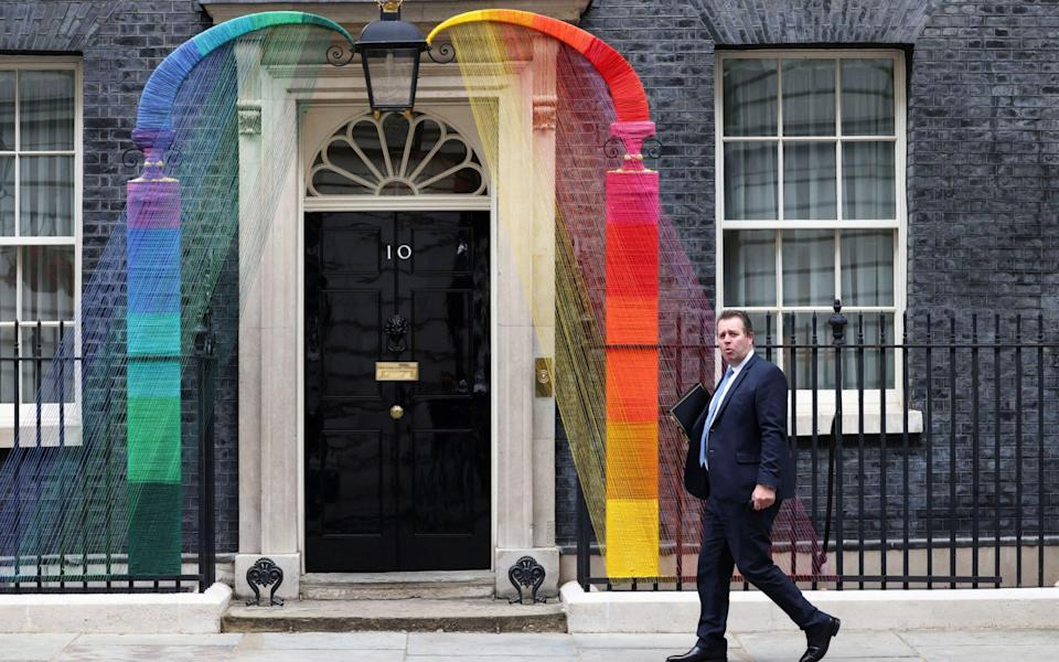 Somewhere under the rainbow: Mark Spencer, the chief whip, going into Downing Street - Reuters