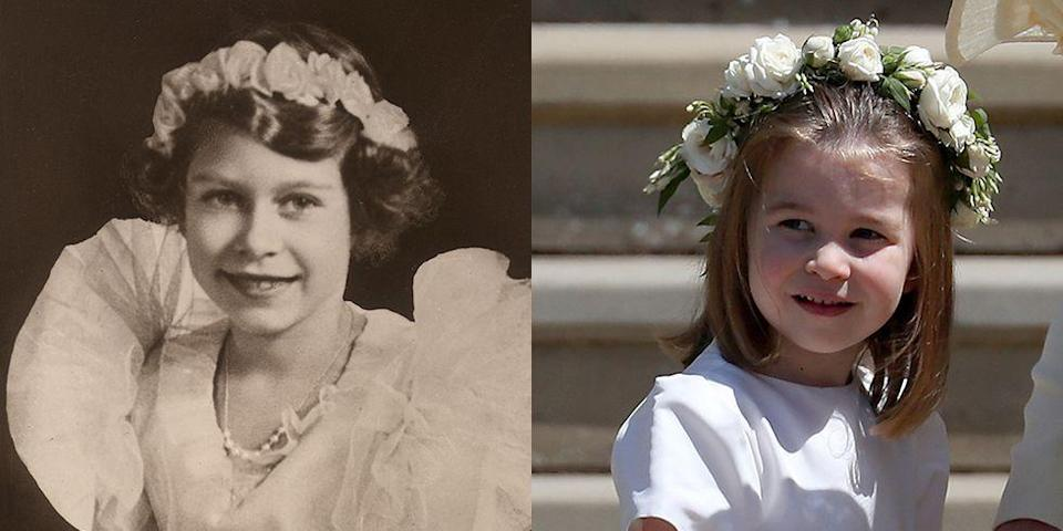 """<p><strong>LEFT: </strong>An early '30s portrait shows Princess Elizabeth in a flower crown and a ruched chiffon dress.</p><p><strong>RIGHT:</strong> <a href=""""https://www.goodhousekeeping.com/beauty/fashion/a20632494/princess-charlotte-royal-wedding-dress/"""" rel=""""nofollow noopener"""" target=""""_blank"""" data-ylk=""""slk:Princess Charlotte"""" class=""""link rapid-noclick-resp"""">Princess Charlotte</a> wore similar attire when she served in the bridal party at <a href=""""https://www.goodhousekeeping.com/life/g20758205/royal-wedding-2018-recap/"""" rel=""""nofollow noopener"""" target=""""_blank"""" data-ylk=""""slk:Prince Harry and Meghan Markle's wedding"""" class=""""link rapid-noclick-resp"""">Prince Harry and Meghan Markle's wedding</a> at Windsor Castle on May 19, 2018.</p>"""