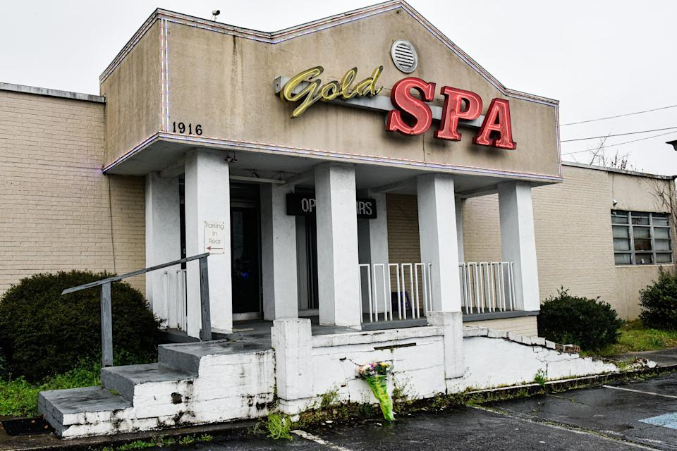 Gold Spa, one of the three Asian massage parlors attacked by a gunman on March 16, 2021. Six Asian women were among eight people he shot and killed, the most violent chapter yet in a wave of attacks on Asian Americans. (Photo: VIRGINIE KIPPELEN via Getty Images)