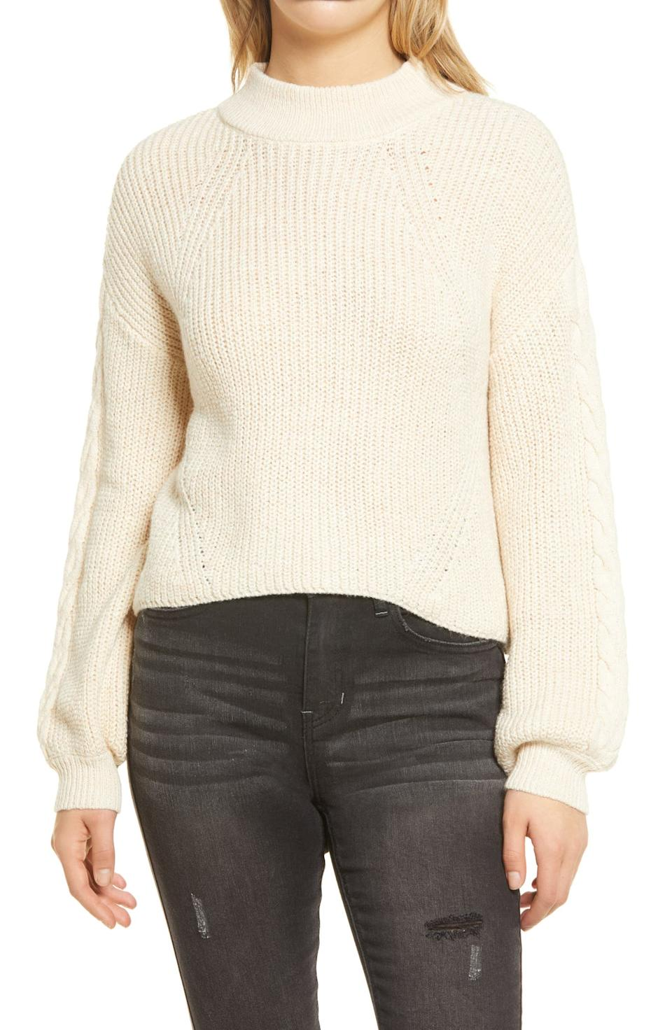 BP. Cable Knit Balloon Sleeve Sweater. Image via Nordstrom.