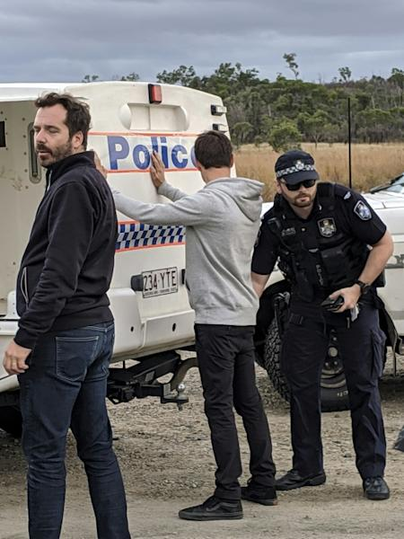 Australian police said the French journalists arrested at a protest against a new coal mine have been charged with one count each of trespassing on a railway (AFP Photo/Handout)