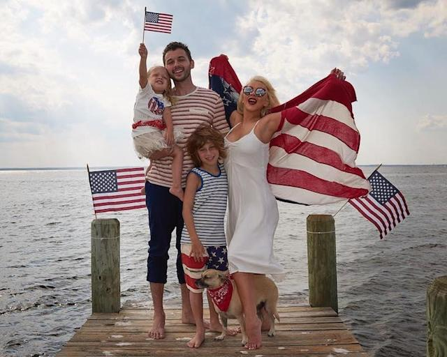 "<p>Christina Aguilera and her husband, Matthew Rutler, are doing the Fourth of July right. The former <em>Voice</em> coach shared a festive family photo with her husband and their two kids, Max and Summer. (Photo: Christina Aguilera <a href=""https://www.instagram.com/p/BWIT0bqgFIl/"" rel=""nofollow noopener"" target=""_blank"" data-ylk=""slk:via Instagram"" class=""link rapid-noclick-resp"">via Instagram</a>)<br><br></p>"