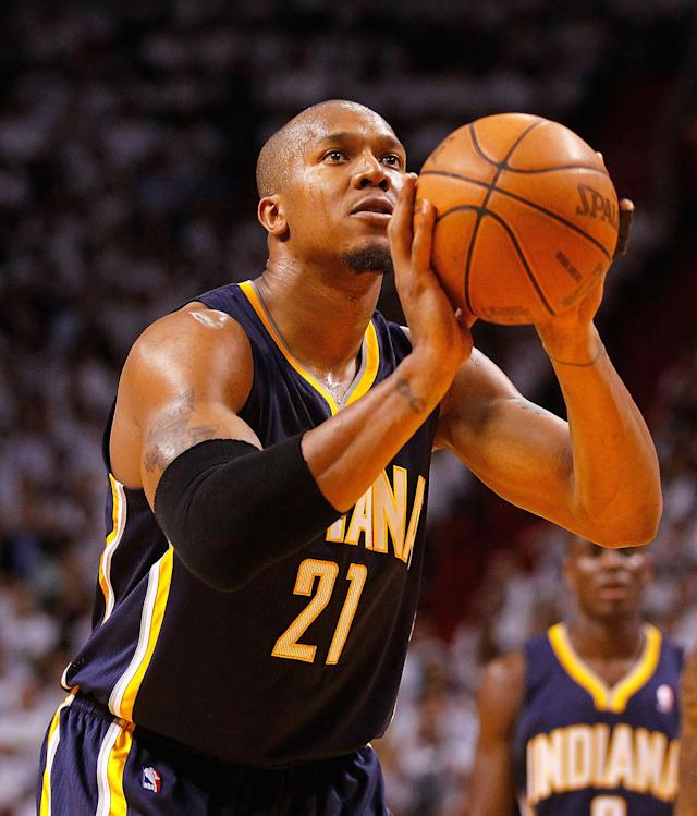 MIAMI, FL - MAY 15: David West #21 of the Indiana Pacers shoots a free throw during Game Two of the Eastern Conference Semifinals in the 2012 NBA Playoffs against the Miami Heat at AmericanAirlines Arena on May 15, 2012 in Miami, Florida. NOTE TO USER: User expressly acknowledges and agrees that, by downloading and/or using this Photograph, User is consenting to the terms and conditions of the Getty Images License Agreement. (Photo by Mike Ehrmann/Getty Images)
