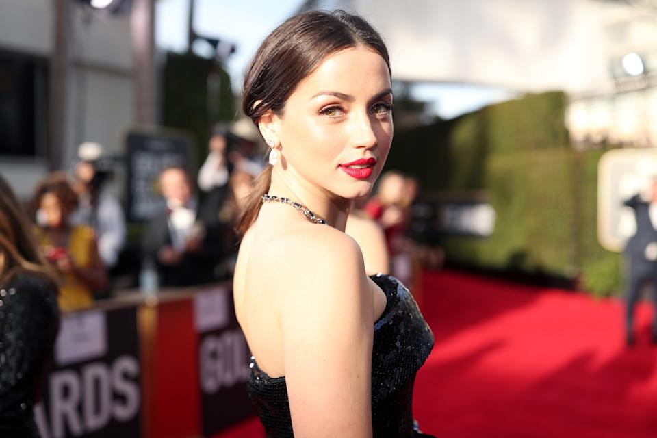 BEVERLY HILLS, CALIFORNIA - JANUARY 05: 77th ANNUAL GOLDEN GLOBE AWARDS -- Pictured: Ana de Armas arrives to the 77th Annual Golden Globe Awards held at the Beverly Hilton Hotel on January 5, 2020. -- (Photo by Christopher Polk/NBC/NBCU Photo Bank via Getty Images)