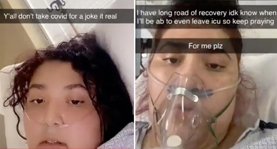 Snapchats posted from her hospital bed were shared with media.