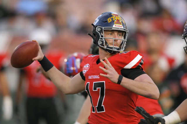 National Team quarterback Reid Sinnett, of San Diego, looks for a receiver during the first half of the Collegiate Bowl college football game against the American Team on Saturday, Jan. 18, 2020, in Pasadena, Calif. (AP Photo/Mark J. Terrill)