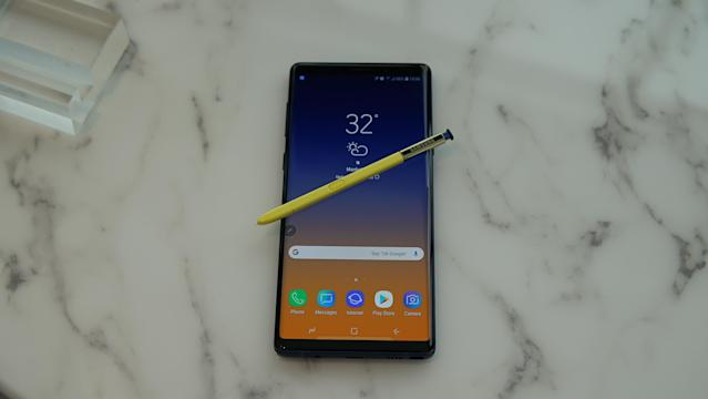 The Samsung Galaxy Note 9 gets a nice splash of color via a yellow S Pen stylus.