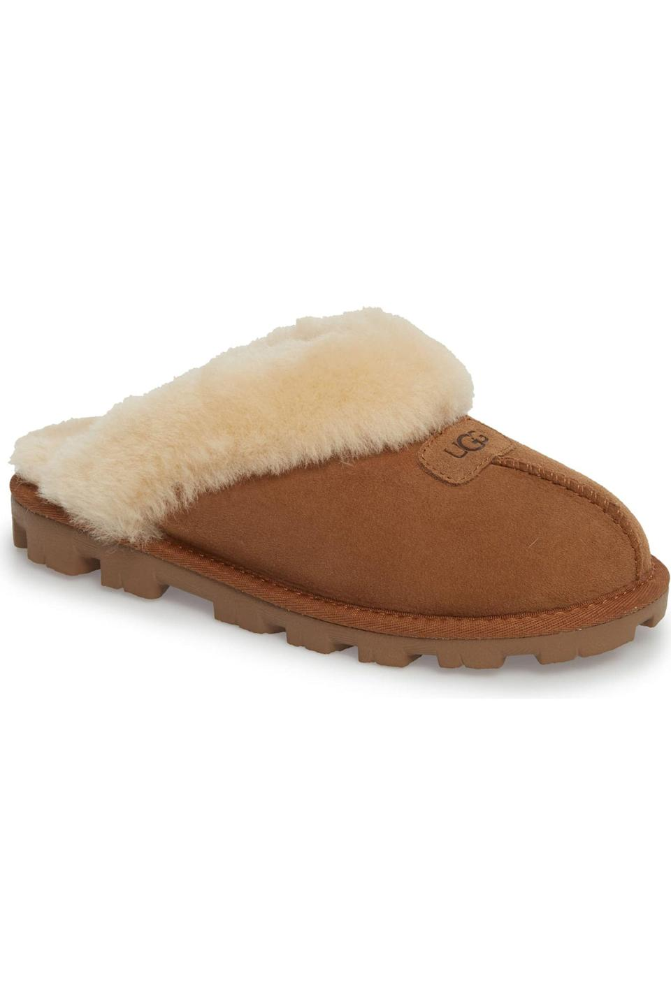 """<p><strong>UGG</strong></p><p>nordstrom.com</p><p><strong>$89.96</strong></p><p><a href=""""https://go.redirectingat.com?id=74968X1596630&url=https%3A%2F%2Fshop.nordstrom.com%2Fs%2Fugg-genuine-shearling-slipper-women%2F2836854&sref=https%3A%2F%2Fwww.elle.com%2Ffashion%2Fg28509176%2Fcozy-gift-guide%2F"""" rel=""""nofollow noopener"""" target=""""_blank"""" data-ylk=""""slk:Shop Now"""" class=""""link rapid-noclick-resp"""">Shop Now</a></p><p>""""I have been living in my Ugg Coquette slippers! They are the coziest I've ever owned. And bonus, they also have rubber soles, so I may never have to go back to real shoes!""""– Jade Vallario, Accessories Editor</p>"""