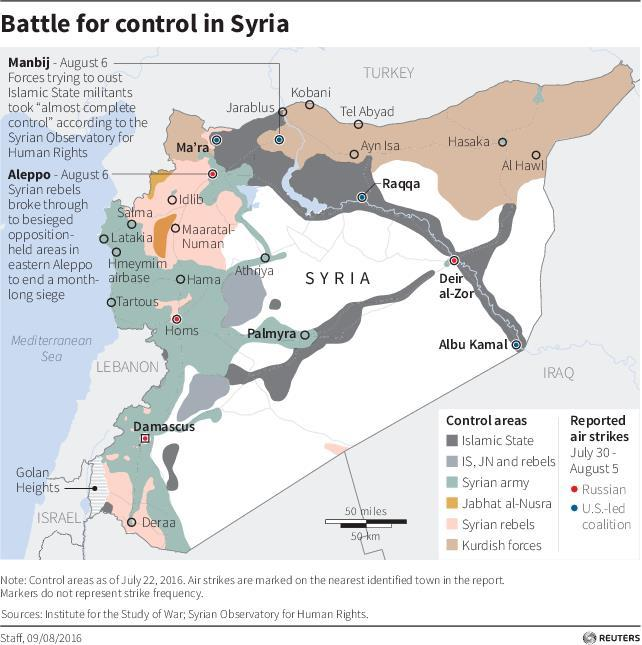 Turkish Forces And USbacked Syrian Rebels Have Captured A Key - Map of area that us forces control in syria
