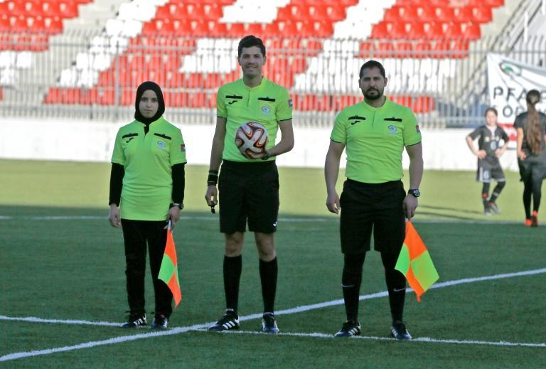 Palestinian Football Association chief referee, Ibrahim Ghrouf (c), said 30 women are currently being trained to work as match officials