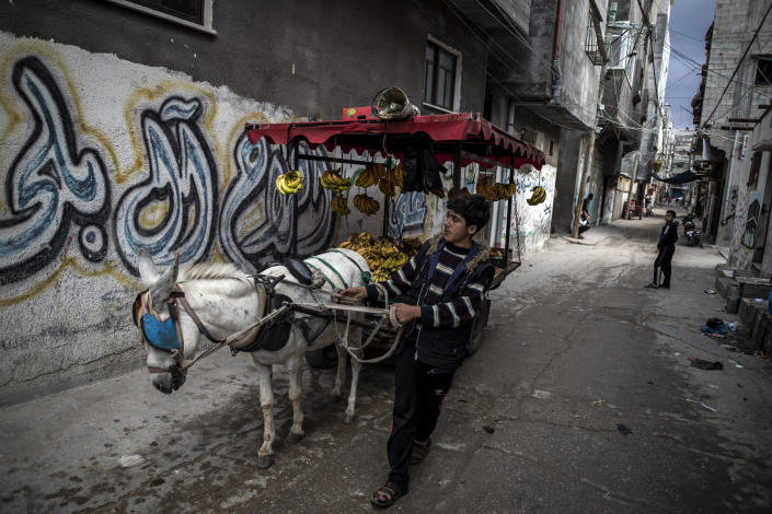 A Palestinian boy sells bananas on a donkey carte in an alley in the Shati refugee camp, in Gaza City, Wednesday, Nov. 25, 2020. Israel's blockade of the Hamas-ruled Gaza Strip has cost the seaside territory as much as $16.7 billion in economic losses and caused its poverty and unemployment rates to skyrocket, a U.N. report said Wednesday, as it called on Israel to lift the 13-year closure. (AP Photo/Khalil Hamra)