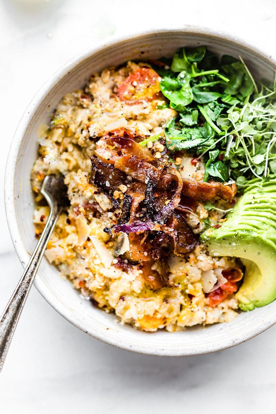 """<p>Tired of the same old sweet oatmeal? Shake up your routine with a savory take on the breakfast food. Crispy bacon, avocado, butternut squash, and parmesan are convincing enough to try this.</p> <p><strong>Get the recipe: </strong><a href=""""http://www.cottercrunch.com/savory-slow-cooker-oatmeal/"""" class=""""link rapid-noclick-resp"""" rel=""""nofollow noopener"""" target=""""_blank"""" data-ylk=""""slk:savory slow-cooker oatmeal with crispy bacon"""">savory slow-cooker oatmeal with crispy bacon</a></p>"""