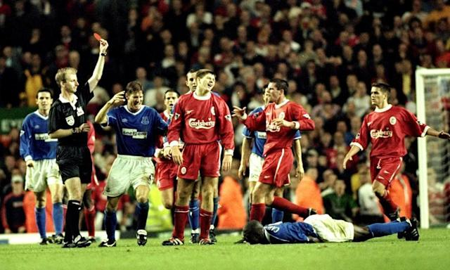 "<span class=""element-image__caption"">Steven Gerrard becomes the third player to be sent off in the Anfield Merseyside derby of September 1999.</span> <span class=""element-image__credit"">Photograph: Michael Steele/Getty Images</span>"