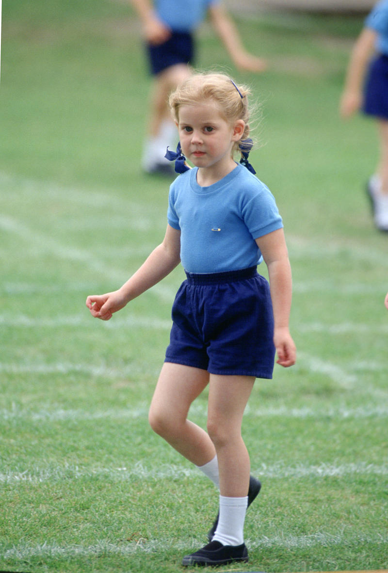 A five-year-old Prince Beatrice at her school sports day in 1993 (Getty Images)