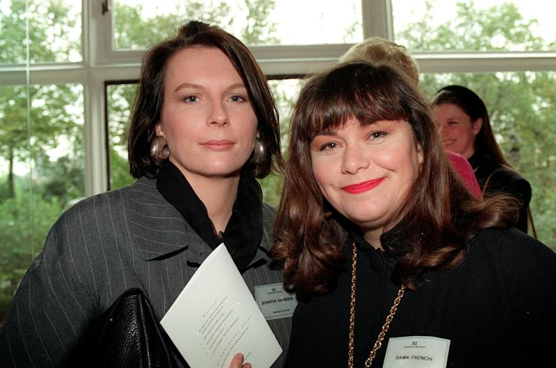 PA NEWS PHOTO 26/10/92 WRITERS AND COMEDIENNES JENNIFER SAUNDERS AND DAWN FRENCH (RIGHT) ATTEND THE WOMEN OF THE YEAR AWARDS AT THE SAVOY HOTEL, LONDON
