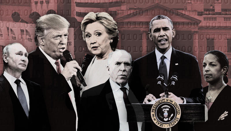 Vladimir Putin, Donald Trump, Hillary Clinton, John Brennan, Barack Obama and Susan Rice