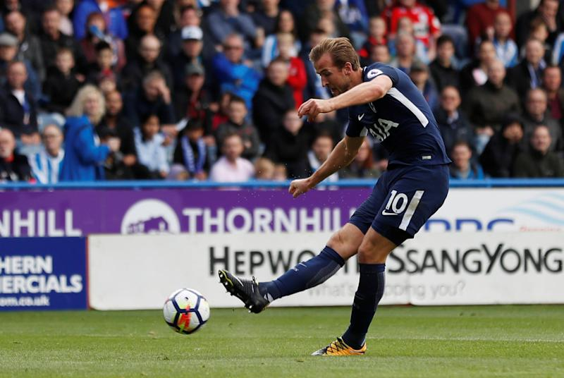 Tottenham's Harry Kane scores his first of two goals against Huddersfield. (Action Images via Reuters)