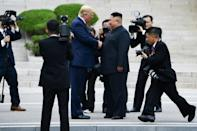 President Donald Trump, who has shaken up the US approach to foreign policy, shakes hands with North Korean leader Kim Jong Un at the Demilitarized Zone dividing North and South Korea on June 30, 2019