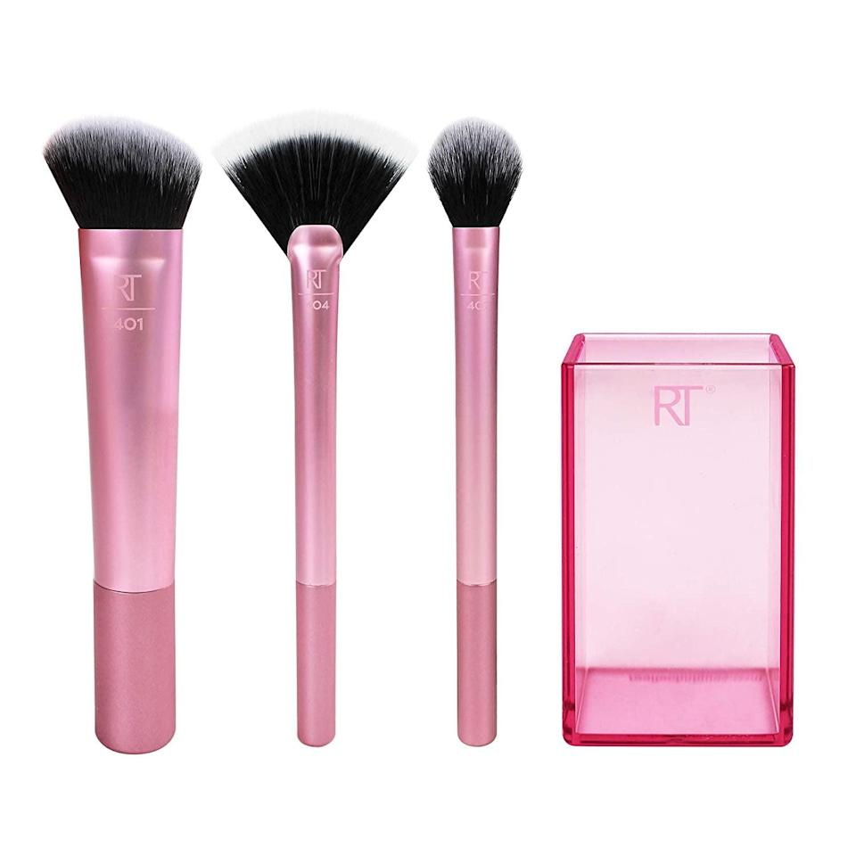 """<p>""""<span>Real Techniques Makeup Brushes</span> ($20) are affordable, quality brushes that have been my go-to for eyes, lips, and face. The synthetic bristles stand the test of time, [and] are vegan and cruelty-free. They give me better results than some of my pricier and natural-hair brushes."""" - <a href=""""https://www.instagram.com/allanface/?hl=en"""" class=""""link rapid-noclick-resp"""" rel=""""nofollow noopener"""" target=""""_blank"""" data-ylk=""""slk:Allan Avendaño"""">Allan Avendaño</a>, celebrity makeup artist</p>"""