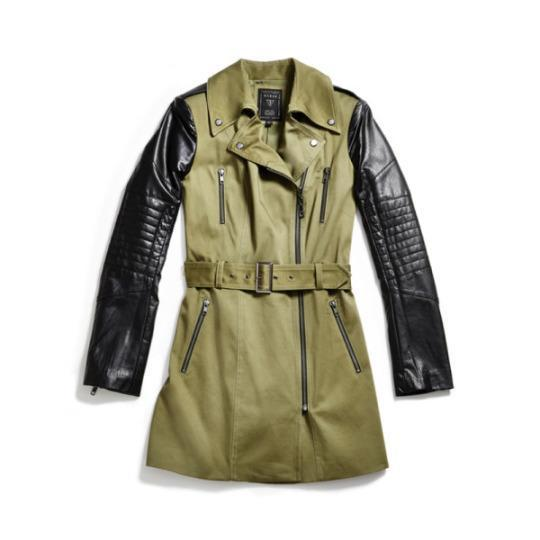 """<p><b><a href=""""http://shop.guess.com/en/Catalog/View/women/jackets-outerwear/quilted-faux-leather-sleeve-trench-coat/W53L10W6TG0"""" rel=""""nofollow noopener"""" target=""""_blank"""" data-ylk=""""slk:Quilted Faux-Leather Sleeve Trench Coat"""" class=""""link rapid-noclick-resp"""">Quilted Faux-Leather Sleeve Trench Coat</a>,</b> Guess $158</p>"""