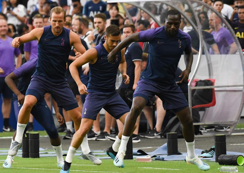 Tottenham Hotspur players (from left) Harry Kane, Harry Winks and Moussa Sissoko during training at the National Stadium for the International Champions Cup. (PHOTO: Zainal Yahya/Yahoo News Singapore)