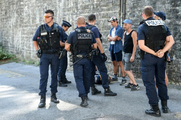French police officers carried out stop-and-search patrols Saturday in Bayonne, France, just outside the G7 summit city of Biarritz