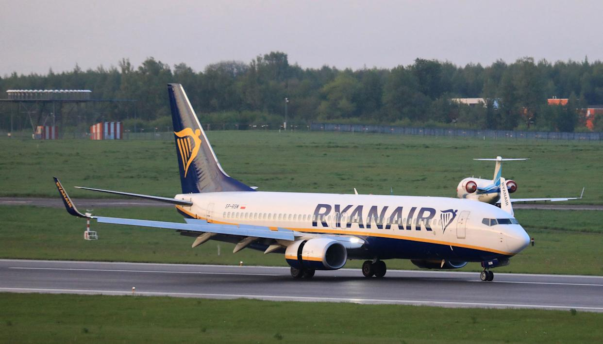 A photo taken on May 23, 2021 shows a Boeing 737-8AS Ryanair passenger plane (flight FR4978, SP-RSM) from Athens, Greece, that was intercepted and diverted to Minsk on the same day by Belarus authorities, landing at Vilnius International Airport, its initial destination. - European Union leaders will discuss toughening their sanctions regime against Belarus on May 24 at their planned summit, after Minsk diverted the Ryanair passenger flight flying from Athens to Vilnius and arrested Belarusian opposition activist Roman Protasevich. (Photo by PETRAS MALUKAS / AFP) (Photo by PETRAS MALUKAS/AFP via Getty Images)