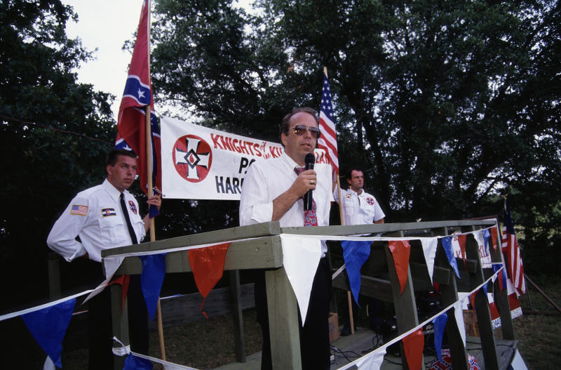 Thomas Robb speaks at a KKK cross-burning rally in Hico, Texas. (Gregory Smith via Getty Images)