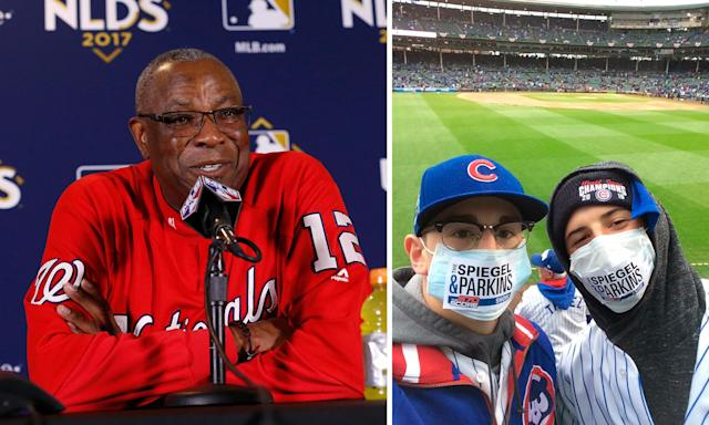 Cubs fans mocked Dusty Baker's mold explanation Wednesday before Game 4 of the NLDS. (AP/@nsammer24)
