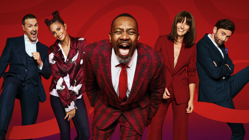The Comic Relief 2021 Night of TV hosts. Paddy McGuinness, Alesha Dixon, Sir Lenny Henry, Davina McCall, David Tennant. (BBC/Comic Relief/Claire Harrison/Nicky Johnston)