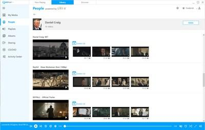 RealPlayer 20/20 showing video search within your video library by a person's face: Daniel Craig.