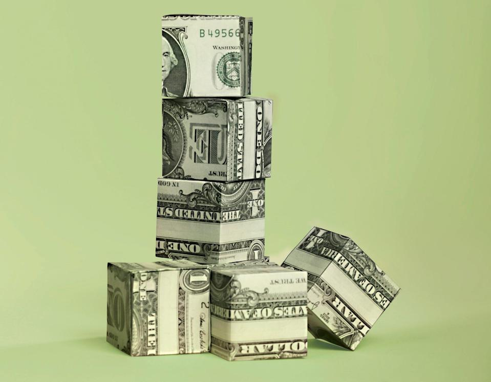 An image of money in boxes.