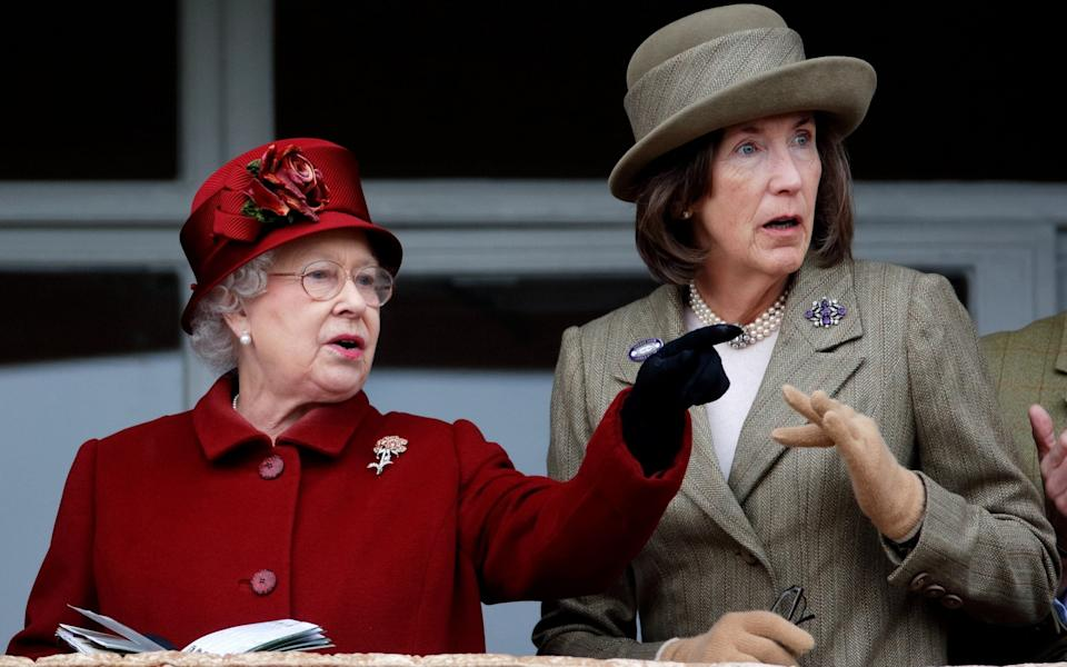 Queen Elizabeth II and Lady Celia Vestey attend day 4 'Gold Cup Day' of the Cheltenham Festival at Cheltenham Racecourse - Max Mumby