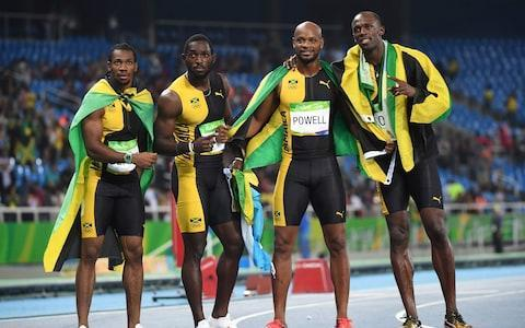 "<span>Jamaica's Yohan Blake, Jamaica's Nickel Ashmeade, Jamaica's <a class=""link rapid-noclick-resp"" href=""/olympics/rio-2016/a/1057256/"" data-ylk=""slk:Asafa Powell"">Asafa Powell</a> and Jamaica's Usain Bolt celebrate after they won the Men's 4x100m Relay Final last summer</span> <span>Credit: AFP/Getty Images </span>"