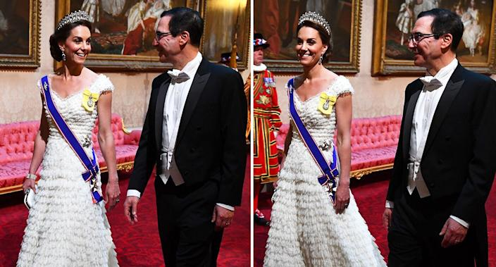 The Duchess of Cambridge wore the Lover's Knot diamond and pearl tiara together with a ruffled Alexander McQueen gown. [Photo: PA]