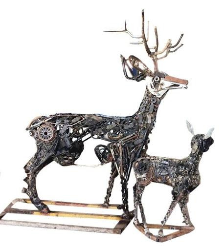 Deer made with automobile scrap by Srinivas