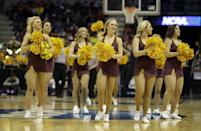 Arizona State cheerleaders perform during the second half of a second-round game between the Texas and the Arizona State in the NCAA college basketball tournament Thursday, March 20, 2014, in Milwaukee. (AP Photo/Morry Gash)