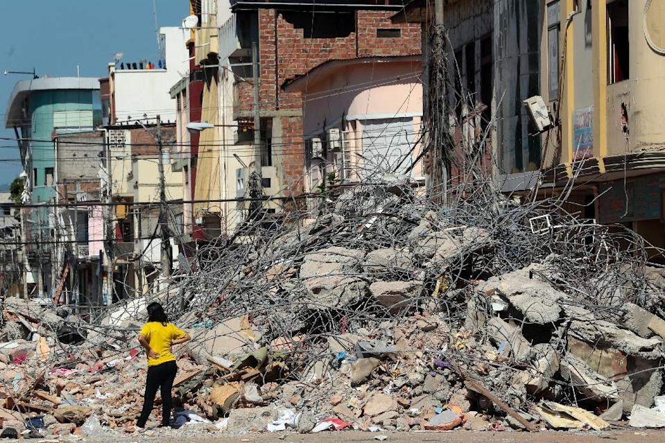 The Ecuadoran town of Portoviejo was severely affected by the 7.8-magnitude earthquake (AFP Photo/Juan Cevallos)