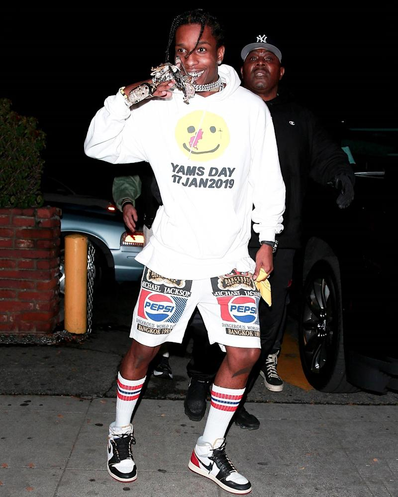 In A$AP Rocky's hands, a sweatshirt and shorts are high fashion.