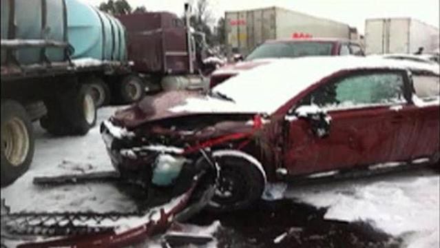 A massive pileup involving at least 50 vehicles on Highway 401 has forced the closure of the eastbound lanes near Woodstock, Ont., while police investigate.